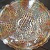 Glass Grape Ruffled Bowl Dish Gold Iridescent