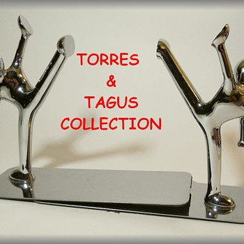 TORRE AND TAGUS - Metal Stylized Book Ends ( Kick Boxing, karate )
