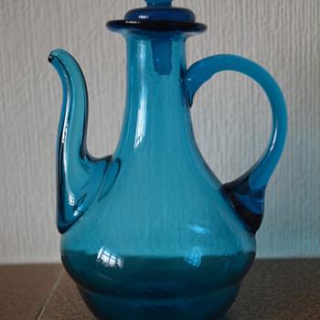 Small blue hand blown glass jug - Glassware