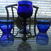 DEEP BLUE GOBLET WITH TWO CUPS..