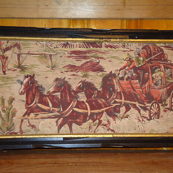 Oil on canvas Western stage coach paintings - Rugs and Textiles