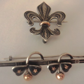 Old Niello Silver / Gold Brooches  - Fine Jewelry
