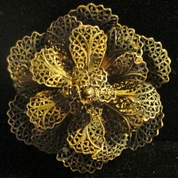 Gilt Silver Filigree Brooch, Spain - Fine Jewelry