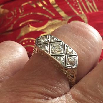 AET DECO EUROPEAN DIAMOND 14K ring - Art Deco