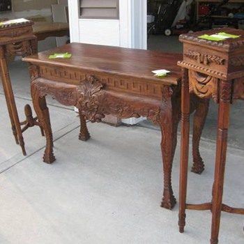 Victorian(?) couch table(?) and plant stands.