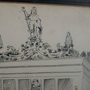 Original Ink Drawing by Architect E.B. Nolan An Oriel in Brunswick??  Where is this Located - Fine Art