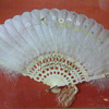 Ivory and feather hand-painted fan
