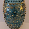 Fenton Glass? Blue Hobnail Vase with Applied Gilt Decoration - Carnival Glass?