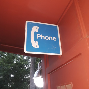 """PHONE"" flange sign added to the carport walls this afternoon - Telephones"