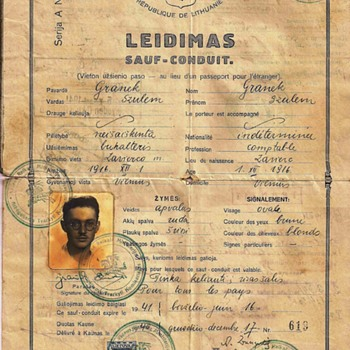 1940 Lithuanian Sauf-conduit (passport)