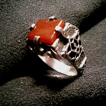 Men's Carnelian And Sterling Silver Cast Band Ring/Marked .925 12 Grams /Circa 20th Century - Fine Jewelry