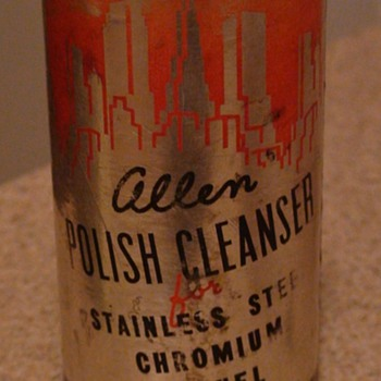 "Art Deco ""Allen Polish Cleanser"" Can - Advertising"
