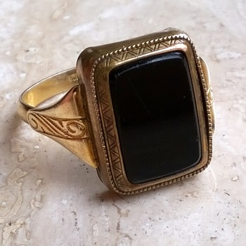 """""""Protected By Law/Registered"""" German Gold Double'/Onyx Man's Ring - Fine Jewelry"""
