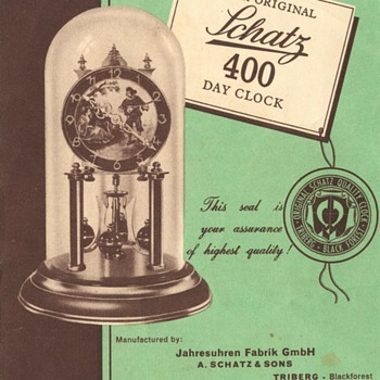 Schatz Standard 400 Day Clock Instructions, 1950s - Clocks