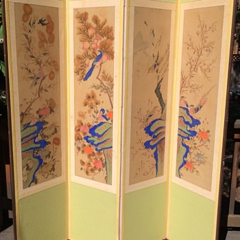 Beautiful old Chinese watercolor painting set screen different birds  - Asian