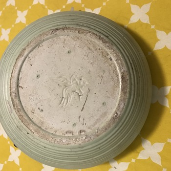 Mystery Eagle ???? Marking Mint Green Planter  - Pottery
