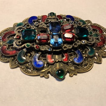 Antique vintage art deco rhinestone brooch - Art Deco