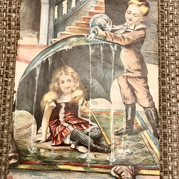 Vintage Wood & Parker Lithograph; Boy pouring water over girl's umbrella - Fine Art