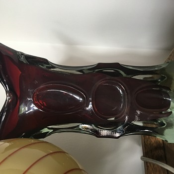 12 inch heavy glass ruby coloured vase