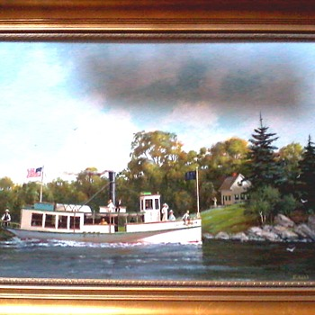 "Ernest Haas ""The Little Nellie On Lake Champlain c. 1895"" /Acrylic on Artist Board 18""x 24""/Circa 1995 - Fine Art"