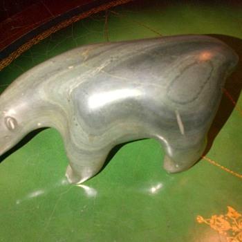 Polar bear made of soapstone. 1960 era.
