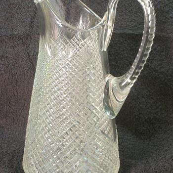 Strawberry and Diamond Fan Cut Glass Pitcher CA 1870's