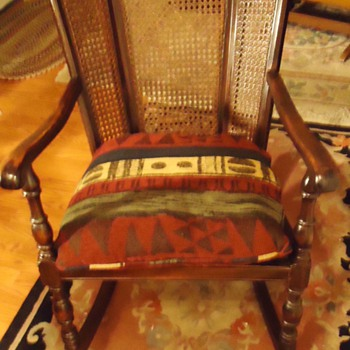 1925 Cowan Mahog. Wick. Rocking chair, 1925 ad Nat. Geo. Winter in Phoenix! Only 60 hours from Chicago, 80 hrs. from N. Y.!