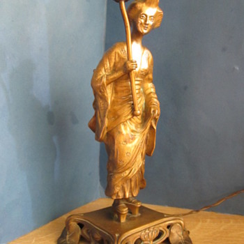 CARBOOT FIND YESTERDAY JAPANESE BRONZE FIGURAL LAMP BASE. INFO REQ'D - Lamps