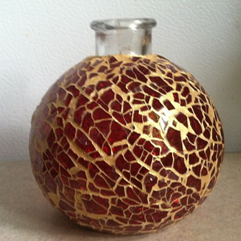 Red Glass Mosaic Bottle/Vase - Art Glass