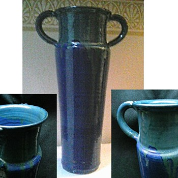Tall Arts and Craft Style Blue-Green Drip Glaze Vase/Circa 20th Century - Pottery
