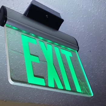 green lettered 'edgelit' EXIT sign - Lamps