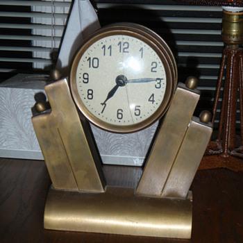 Brass Art Deco Clock