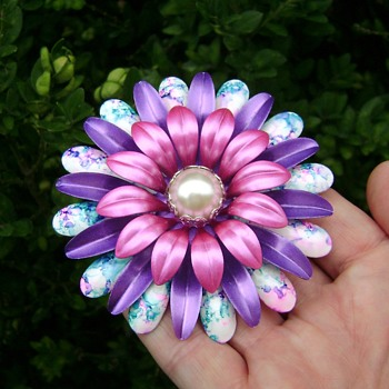 Enamel Flower Power Pin - Costume Jewelry