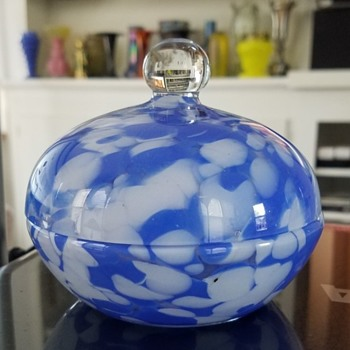 Blue & White - A Covered Dish - Gorgeous Blue & An Unknown Maker - Art Glass