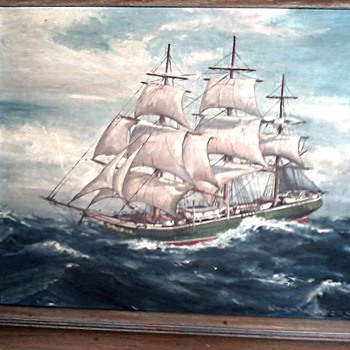 "Beautiful Old Clipper Ship Oil Painting 16"" x 20"" / Signed / Circa 1930's - Fine Art"