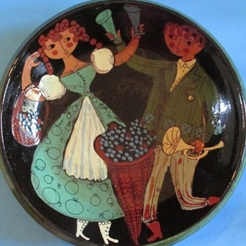 Folk Art Dancers Plate - Pottery