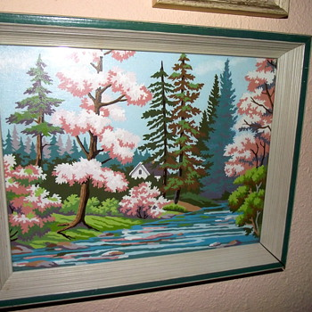 Funkily beautiful Paint By Number landscape in pink and blue