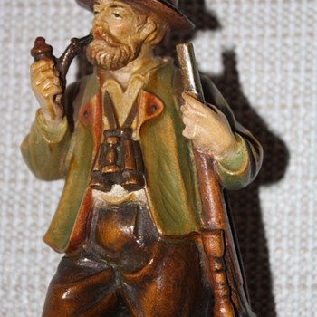 Man and Dog hand painted wood figurine - Figurines