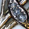14k yellow Gold Snake brooch with three Rose Cut Diamonds