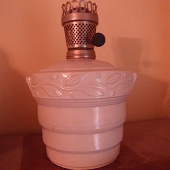 Stoneware kerosene lamp, Unknown maker - Lamps