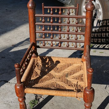 Pakistani [?] Chair with Bells and Inlaid Brass Wire