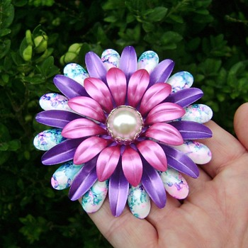 Enamel Flower Power Brooch - Costume Jewelry