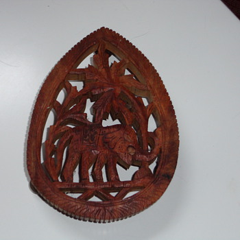 hand carved teak trivet - Kitchen
