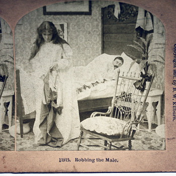 """""""Robbing the Male"""" Stereoscopic Photo (c.1897) - Photographs"""