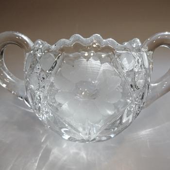 Heavy Glass Open Sugar Bowl with Flowers & Sawtooth Rim - Glassware