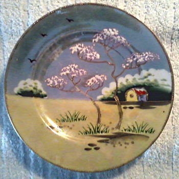 Two Beautiful Japanese Hand Painted Luster Ware Plates / Circa 1930's-40's - Asian