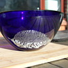 Hadeland Norway Blue Bowl with silver leaf addition.