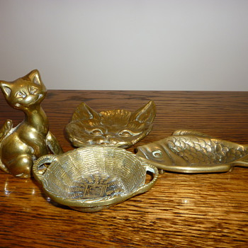 Selection of Victorian (I think) Brass Ashtrays