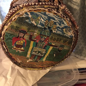 Antique Drum painted with Native American scene ... or is it? - Musical Instruments