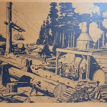 Steam Logging lithograph by Wandesforde - Posters and Prints